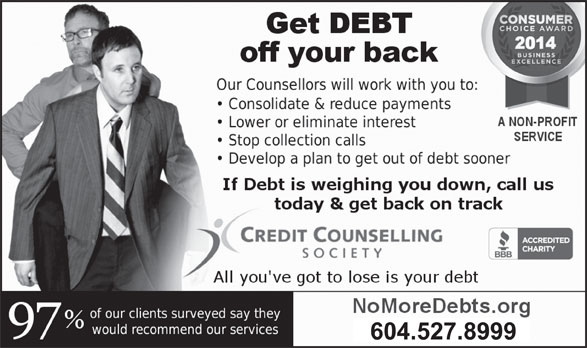 Credit Counselling Society (604-527-8999) - Annonce illustrée======= - 604.527.8999