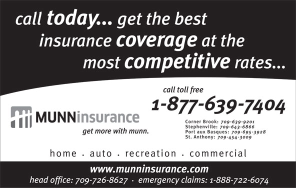Munn Insurance (709-639-9201) - Display Ad -