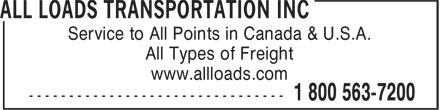 All Loads Transportation Inc (519-622-7200) - Display Ad -