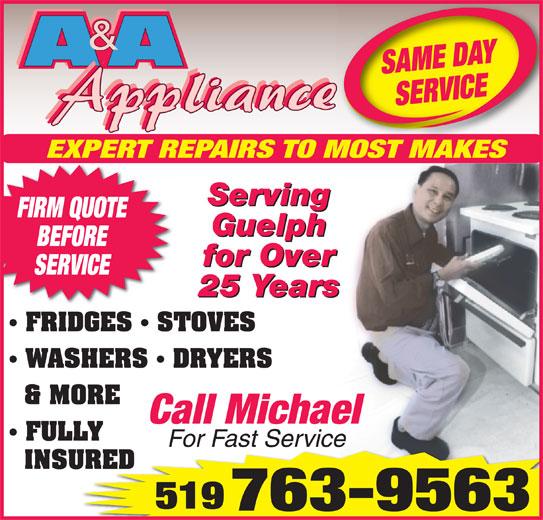 A Amp A Appliance 375 Stephanie Dr Guelph On