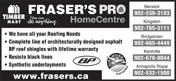 Fraser's Pro Home Centre (902-538-3183) - Annonce illustrée======= -