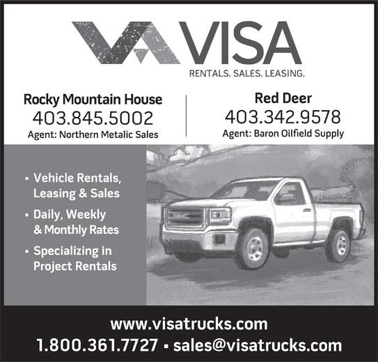 Visa Truck Rentals (1991) Ltd (403-342-9578) - Annonce illustrée======= -