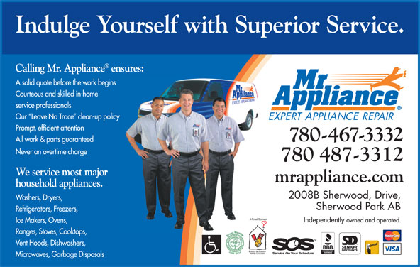 Mr Appliance (780-467-3332) - Annonce illustrée======= -