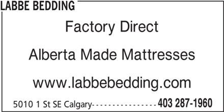 Labbe Bedding (403-287-1960) - Annonce illustrée======= -