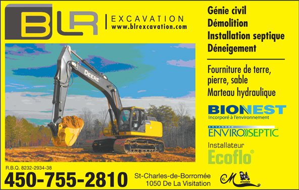 Terrassements B L R Inc (450-755-2810) - Annonce illustrée======= -