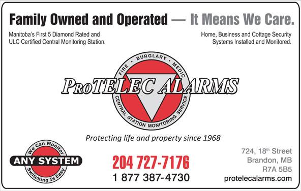 Protelec Alarms (204-727-7176) - Display Ad -