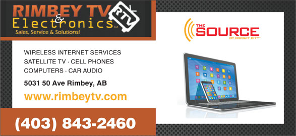 Rimbey TV & Electronics (403-843-2460) - Display Ad - WIRELESS INTERNET SERVICES SATELLITE TV · CELL PHONES COMPUTERS · CAR AUDIO 5031 50 Ave Rimbey, AB www.rimbeytv.com (403) 843-2460