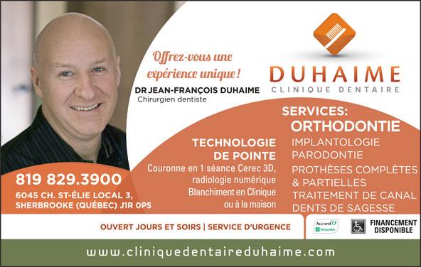 Duhaime Jean-François Dr (819-829-3900) - Annonce illustrée======= - FINANCEMENT DISPONIBLE