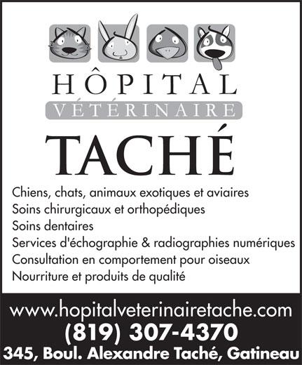 Hôpital Vétérinaire Taché (819-777-5583) - Annonce illustrée======= - Services d'échographie & radiographies numériques Consultation en comportement pour oiseaux Nourriture et produits de qualité www.hopitalveterinairetache.com (819) 307-4370 345, Boul. Alexandre Taché, Gatineau Chiens, chats, animaux exotiques et aviaires Soins chirurgicaux et orthopédiques Soins dentaires