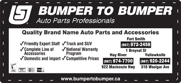 Bumper To Bumper (867-920-2244) - Display Ad -