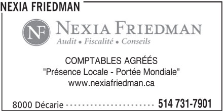 Nexia Friedman (514-731-7901) - Annonce illustrée======= -