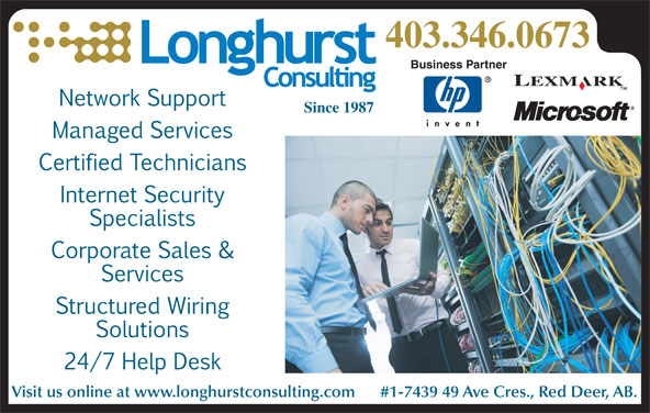 Longhurst Consulting (403-346-0673) - Display Ad - 403.346.0673 Business Partner Since 1987 Visit us online at www.longhurstconsulting.com      #1-7439 49 Ave Cres., Red Deer, AB.