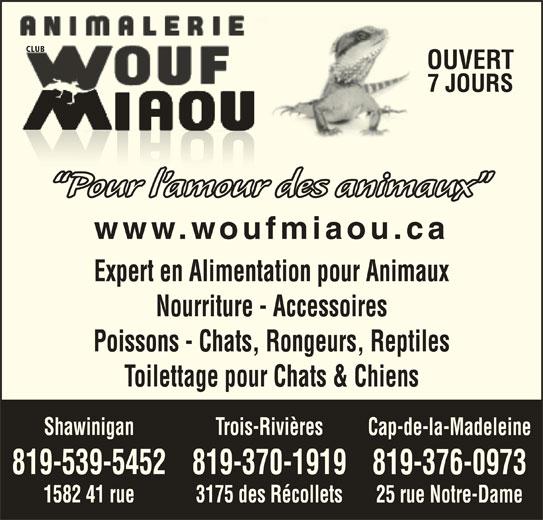 Animalerie Club Wouf Miaou Shawinigan (819-539-5452) - Annonce illustrée======= - CLUB OUVERT 7 JOURS Pour l amour des animaux www.woufmiaou.ca Expert en Alimentation pour Animaux Nourriture - Accessoires Poissons - Chats, Rongeurs, Reptiles Toilettage pour Chats & Chiens Trois-RivièresShawinigan Cap-de-la-Madeleine 819-370-1919819-539-5452 819-376-0973 3175 des Récollets1582 41 rue 25 rue Notre-Dame