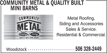 Community Metal & Quality Built Mini Barns (506-328-2449) - Display Ad -