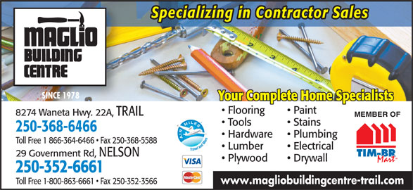 Maglio Building Centre Trail Bc 8274 Hwy 22 Canpages