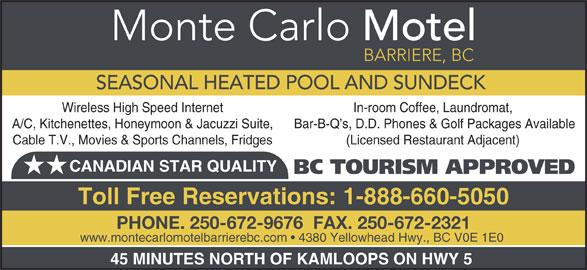 Monte Carlo Motel (250-672-9676) - Display Ad -