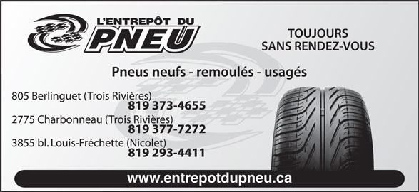 Entrepot Du Pneu (819-373-4655) - Annonce illustrée======= - www.entrepotdupneu.ca