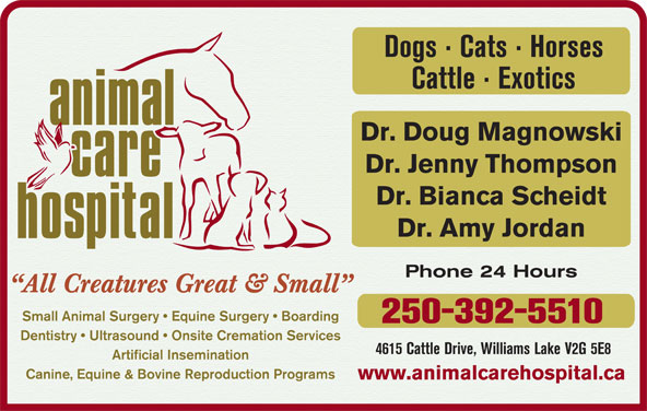 Animal Care Hospital Of Williams Lake (250-392-5510) - Display Ad - Cattle · Exotics Dogs · Cats · Horses Dr. Doug Magnowski Dr. Jenny Thompson Dr. Bianca Scheidt Dr. Amy Jordan Phone 24 Hours All Creatures Great & Small Small Animal Surgery   Equine Surgery   Boarding 250-392-5510 Dentistry   Ultrasound   Onsite Cremation Services 4615 Cattle Drive, Williams Lake V2G 5E8 Artificial Insemination Canine, Equine & Bovine Reproduction Programs www.animalcarehospital.ca