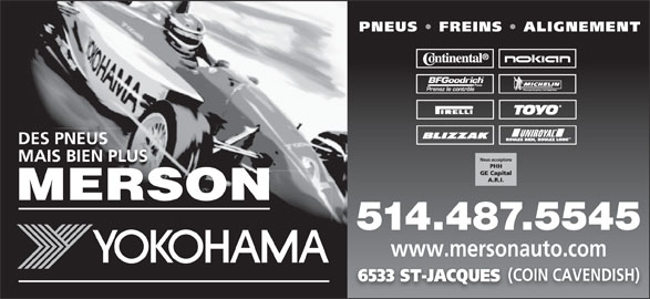 Merson (514-487-5545) - Annonce illustrée======= - www.mersonauto.com (COIN CAVENDISH) 6533 ST-JACQUES 514.487.5545