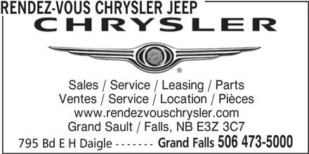 Rendez-Vous Chrysler Jeep (506-473-5000) - Annonce illustrée======= - Ventes / Service / Location / Pièces RENDEZ-VOUS CHRYSLER JEEP www.rendezvouschrysler.com Grand Sault / Falls, NB E3Z 3C7 Grand Falls Sales / Service / Leasing / Parts 506 473-5000 795 Bd E H Daigle ------- Ventes / Service / Location / Pièces RENDEZ-VOUS CHRYSLER JEEP Sales / Service / Leasing / Parts www.rendezvouschrysler.com Grand Sault / Falls, NB E3Z 3C7 Grand Falls 506 473-5000 795 Bd E H Daigle -------