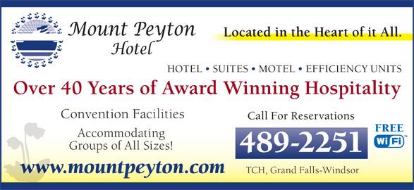 Mount Peyton Hotel (709-489-2251) - Annonce illustrée======= -