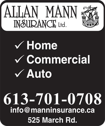 Allan Mann Insurance (613-592-6484) - Annonce illustrée======= - Ltd. Home Commercial Auto 525 March Rd.