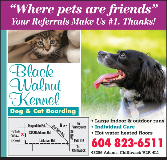 Black Walnut Kennel (604-823-6511) - Annonce illustrée======= - Dog & Cat Boarding Large indoor & outdoor runs Old Yale Rd. To Hopedale Rd. Vancouver Individual Care #1 Hwy. 43386 Adams Rd. Hot water heated floors Lickman Rd. Exit 116 604 823-6511 To Chilliwack 43386 Adams, Chilliwack V2R 4L1 Where pets are friends Your Referrals Make Us #1. Thanks!