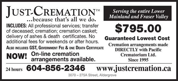 Just-Cremation (604-856-2346) - Annonce illustrée======= -