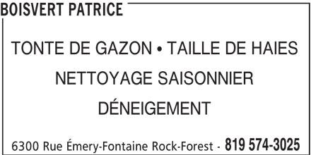 Patrice boisvert 6300 rue mery fontaine sherbrooke qc for Service tonte de gazon