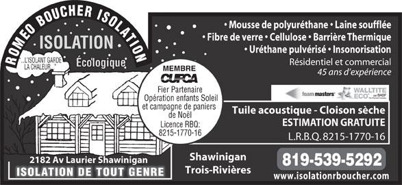 isolation romeo boucher inc shawinigan qc 2182 av laurier canpages fr. Black Bedroom Furniture Sets. Home Design Ideas