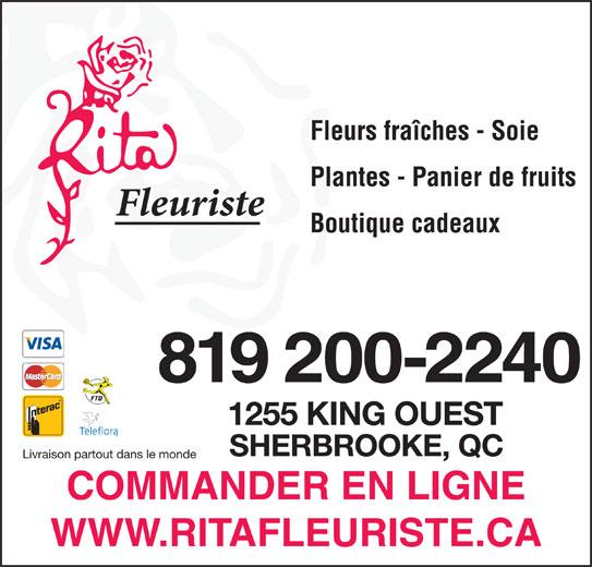 Rita Fleuriste Inc (819-563-4212) - Annonce illustrée======= - Fleurs fraîches - Soie Plantes - Panier de fruits Boutique cadeaux Livraison partout dans le monde