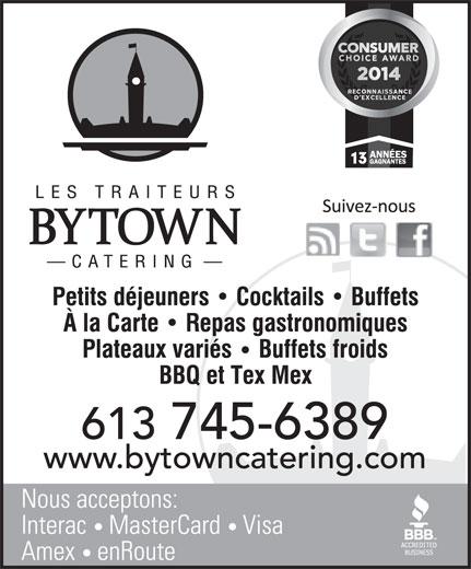 Bytown Catering (613-745-6389) - Annonce illustrée======= -
