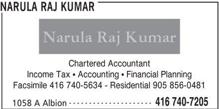 Narula Raj Kumar (416-740-7205) - Display Ad - NARULA RAJ KUMAR Chartered Accountant Income Tax   Accounting   Financial Planning Facsimile 416 740-5634 - Residential 905 856-0481 --------------------- 416 740-7205 1058 A Albion