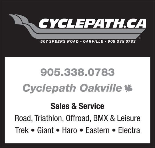 Cyclepath (905-338-0783) - Display Ad - 905.338.0783 Cyclepath Oakville Sales & Service Road, Triathlon, Offroad, BMX & Leisure Trek   Giant   Haro   Eastern   Electra