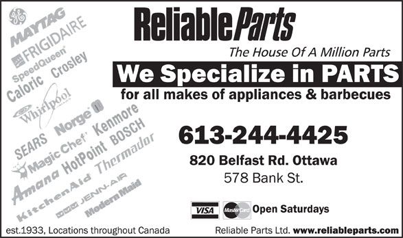 Reliable Parts (613-244-4425) - Display Ad -