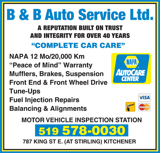 B B Auto Service Ltd Kitchener On 787 King St E Canpages