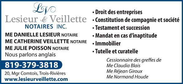 Lesieur et Veillette Notaires Inc (819-379-3818) - Annonce illustrée======= -