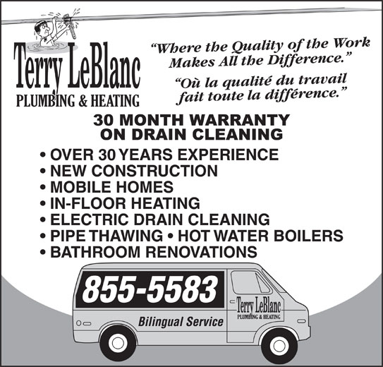 Terry LeBlanc Plumbing & Heating (506-855-5583) - Display Ad -