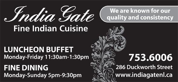 India Gate Restaurant (709-753-6006) - Annonce illustrée======= -
