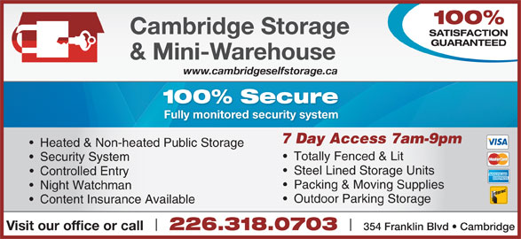 Ads Cambridge Storage & Mini Warehouse