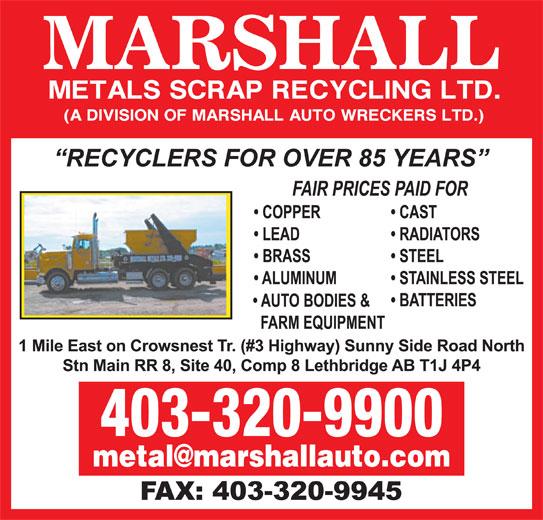 Marshall Metals Scrap Recycling Ltd (403-320-9900) - Display Ad -