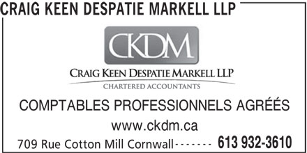 Craig Keen Despatie Markell LLP (613-932-3610) - Annonce illustrée======= -