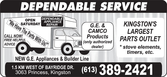 Dependable Appliances (613-389-2421) - Display Ad - DEPENDABLE SERVICE