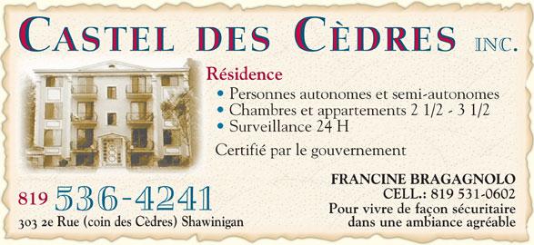Ads Résidence Castel des Cèdres Inc