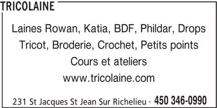 Tricolaine (450-346-0990) - Annonce illustrée======= -