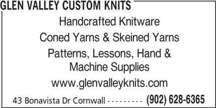 Glen Valley Custom Knits (902-628-6365) - Annonce illustrée======= -