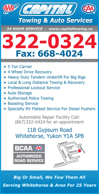 Capital Towing & Auto Service (867-667-2403) - Display Ad - 322-0324 (867) 322-0424