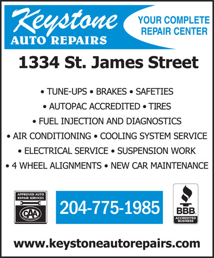 Keystone Auto Repairs (204-775-1985) - Display Ad -