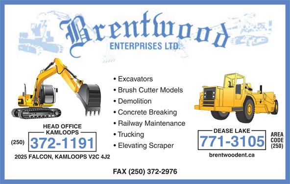 Brentwood Enterprises Ltd (250-372-1191) - Annonce illustrée======= -