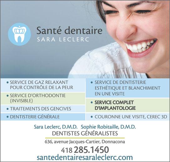 Santé Dentaire Sara Leclerc (418-285-1450) - Annonce illustrée======= -